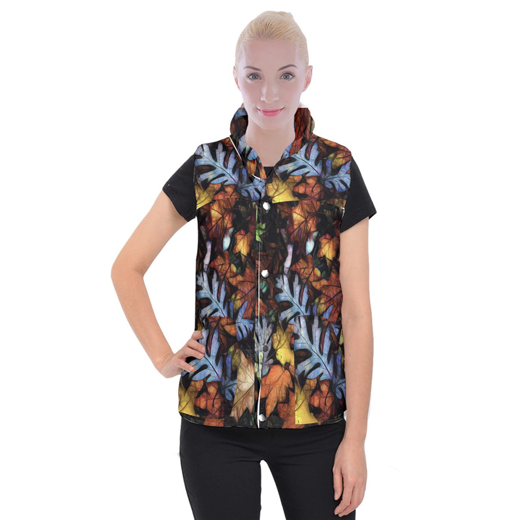Mid October Leaves Women's Button Up Vest