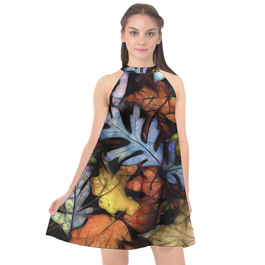 Mid October Leaves Halter Neckline Chiffon Dress