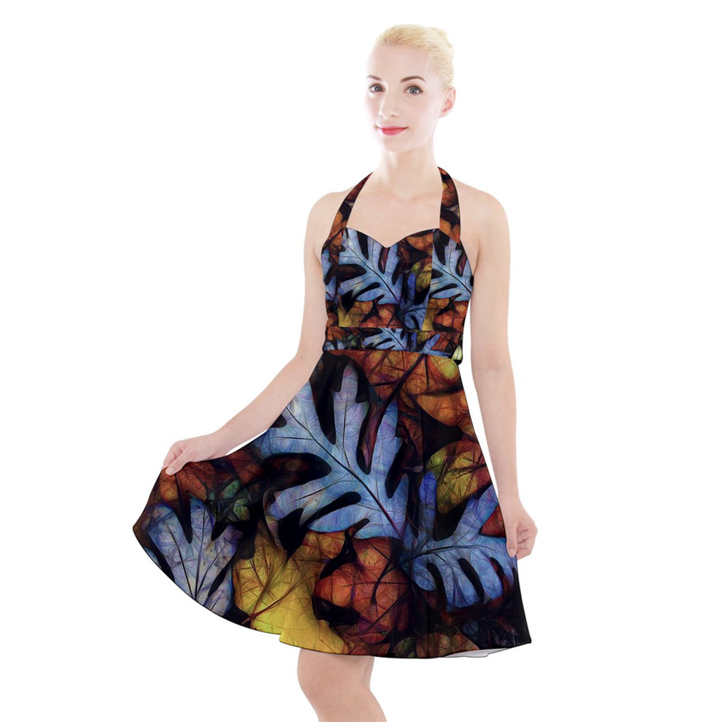 Mid October Leaves Halter Party Swing Dress