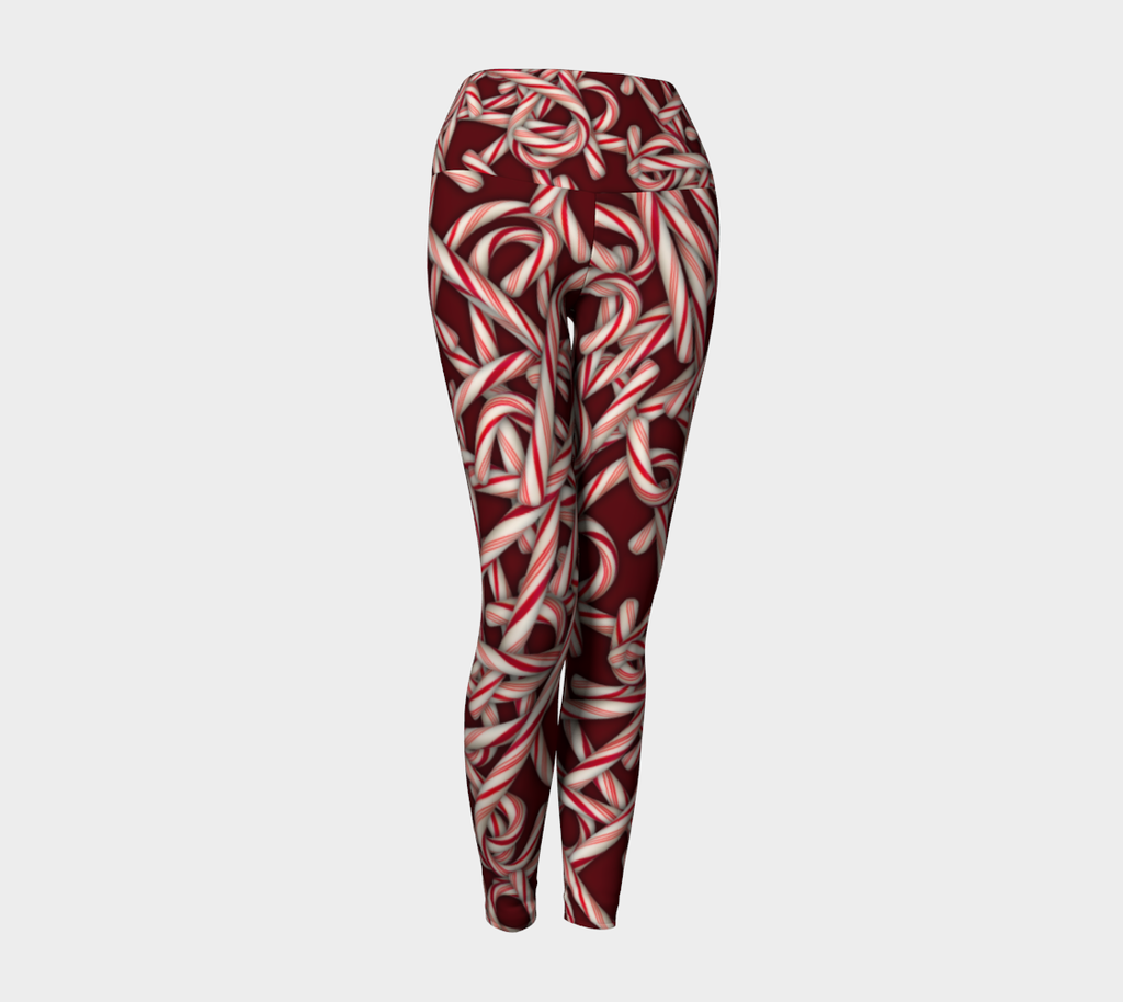 Candy Cane Collage Yoga Leggings