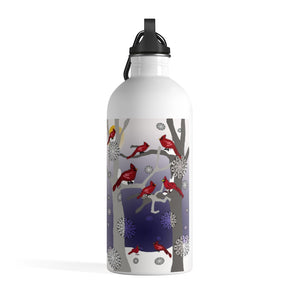 Cardinals In The Snow Stainless Steel Water Bottle