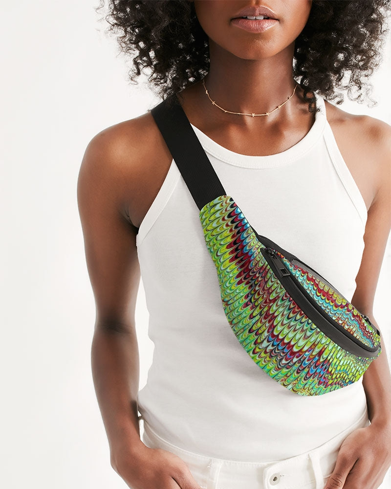 Cool Green Marbled Crossbody Sling Bag