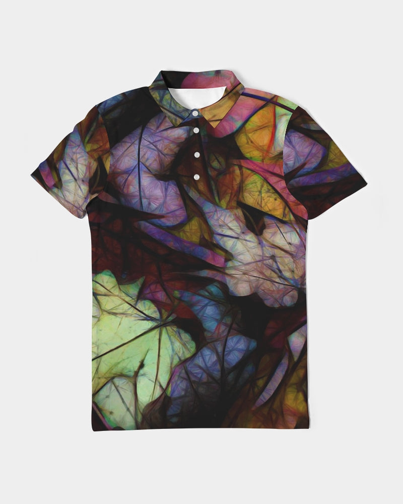 Fall Leaves Abstract Men's Slim Fit Short Sleeve Polo