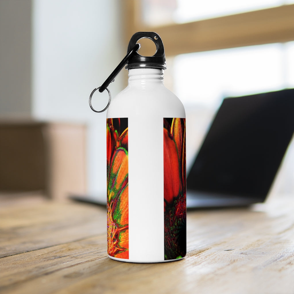 Orange Daisy Stainless Steel Water Bottle