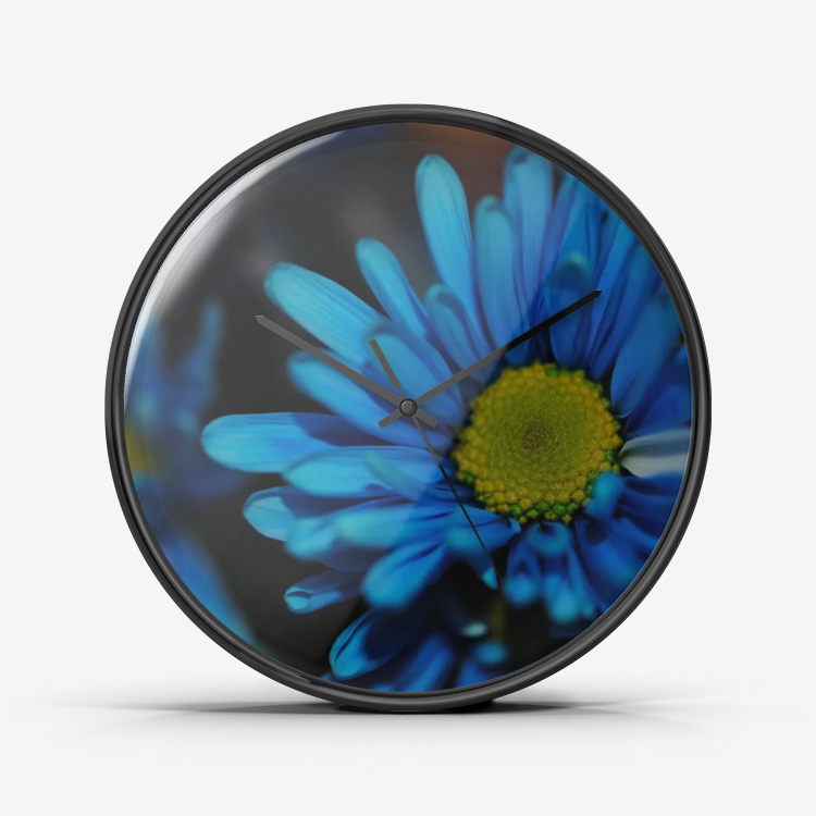 Blue Daisy Wall Clock Silent Non Ticking Quality Quartz