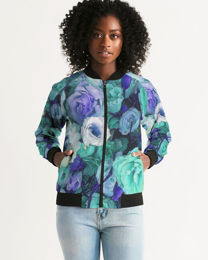 Aqua Flowers Women's Bomber Jacket
