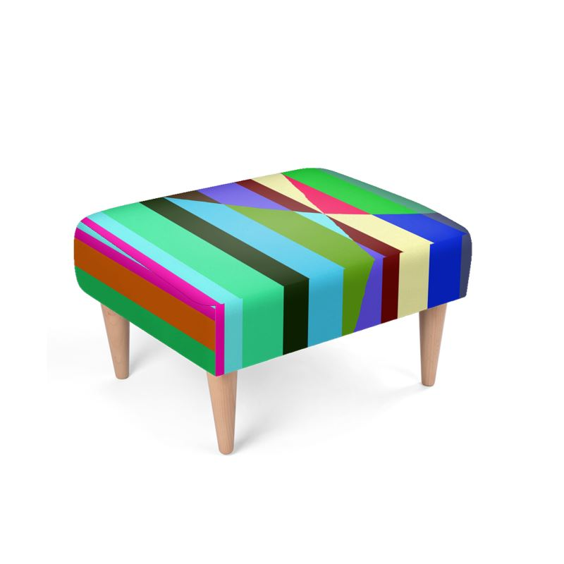 Stripes Interrupted Footstool