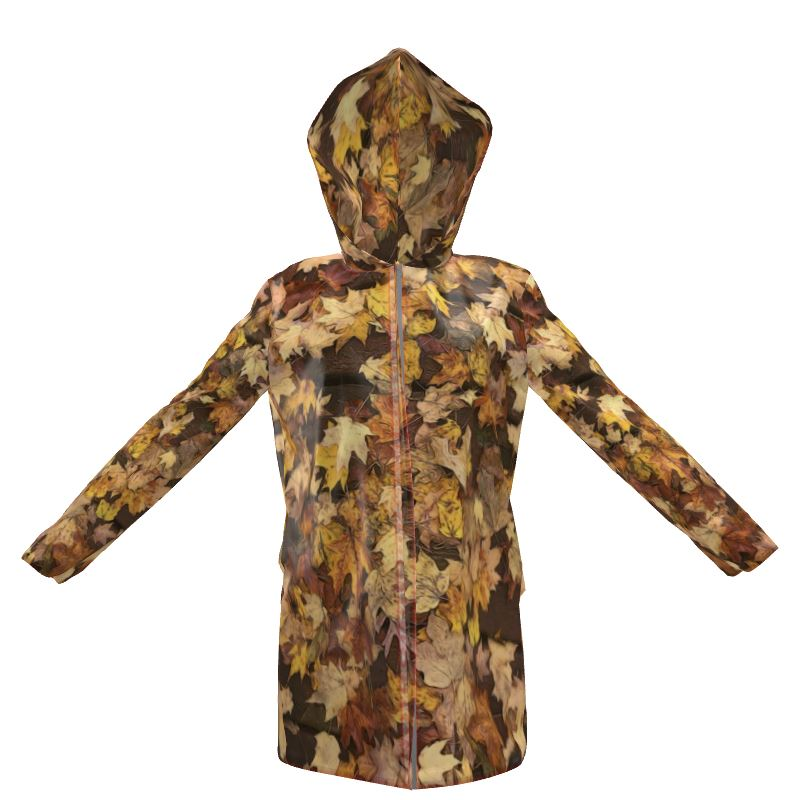 Late October Leaves Women's Hooded Rain Mac