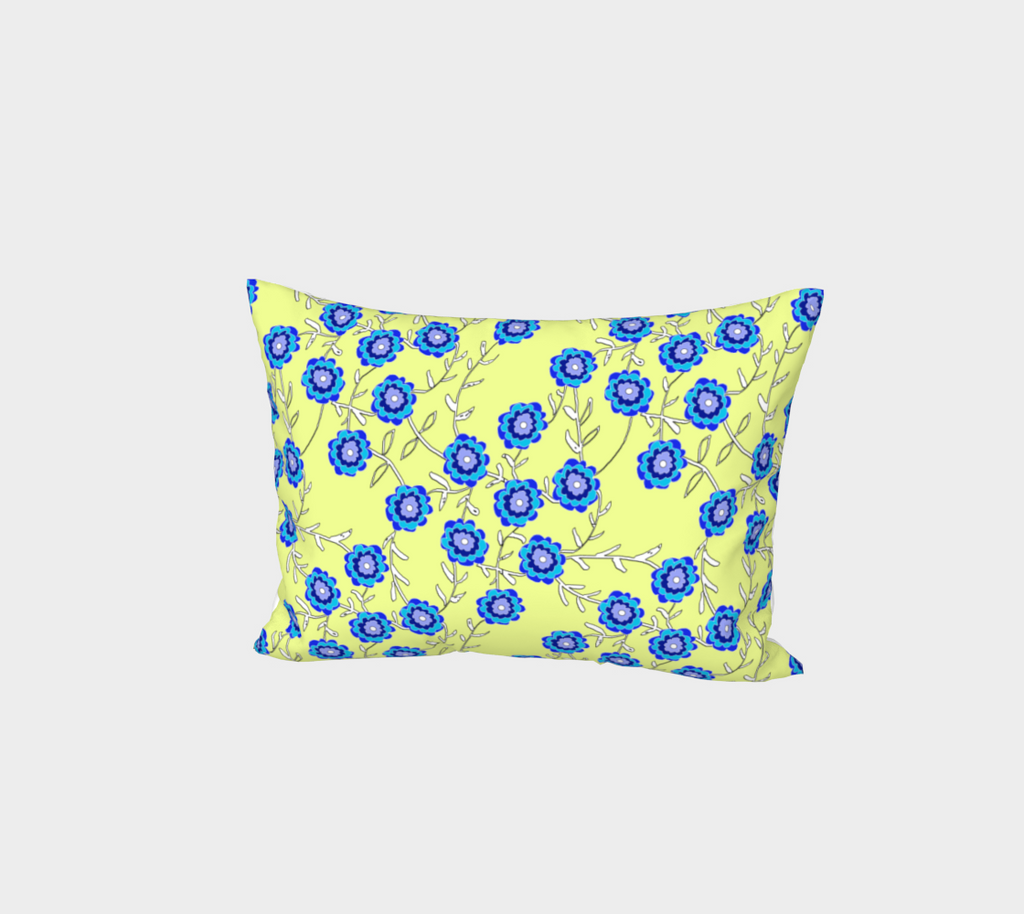 Blue Flowers On Yellow Bed Pillow Sham