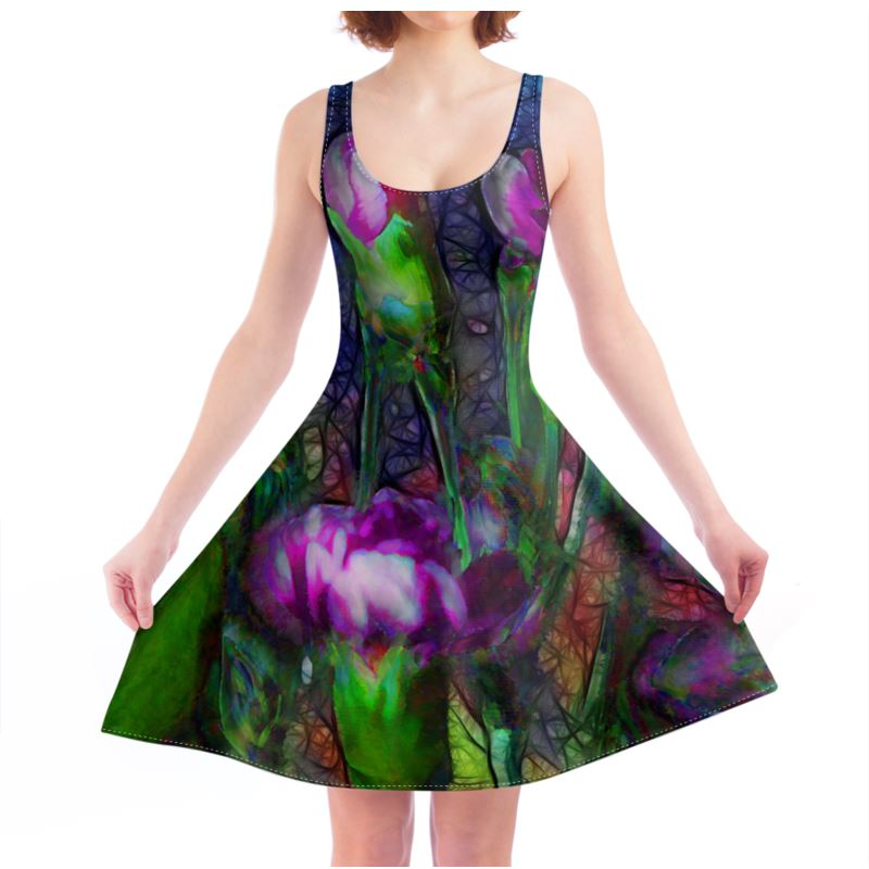 Abstract Pink Carnations Skater Dress