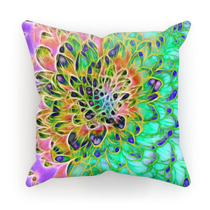 Abstract Peacock Chrysanthemum Cushion