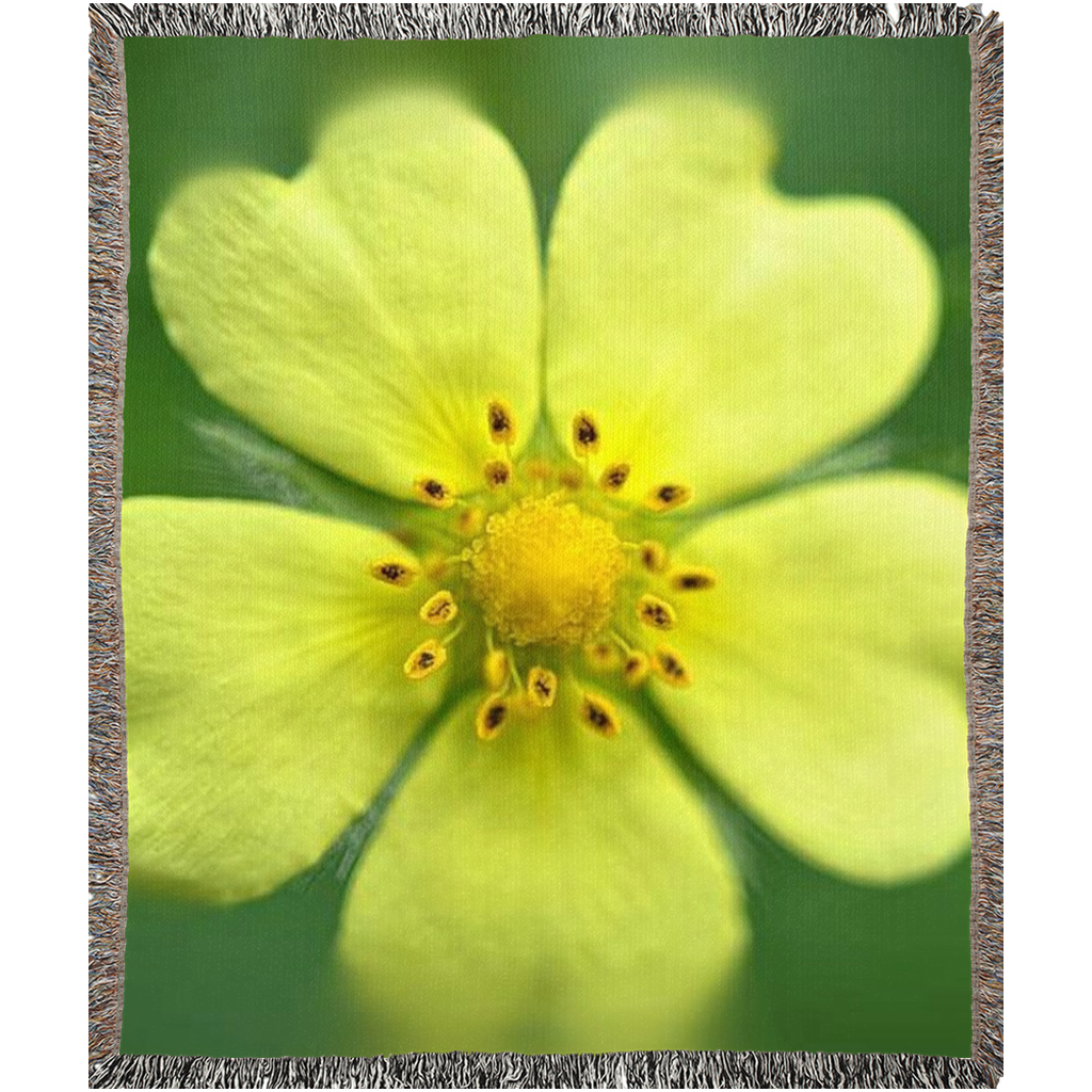 Yellow Wildflower Woven Blankets