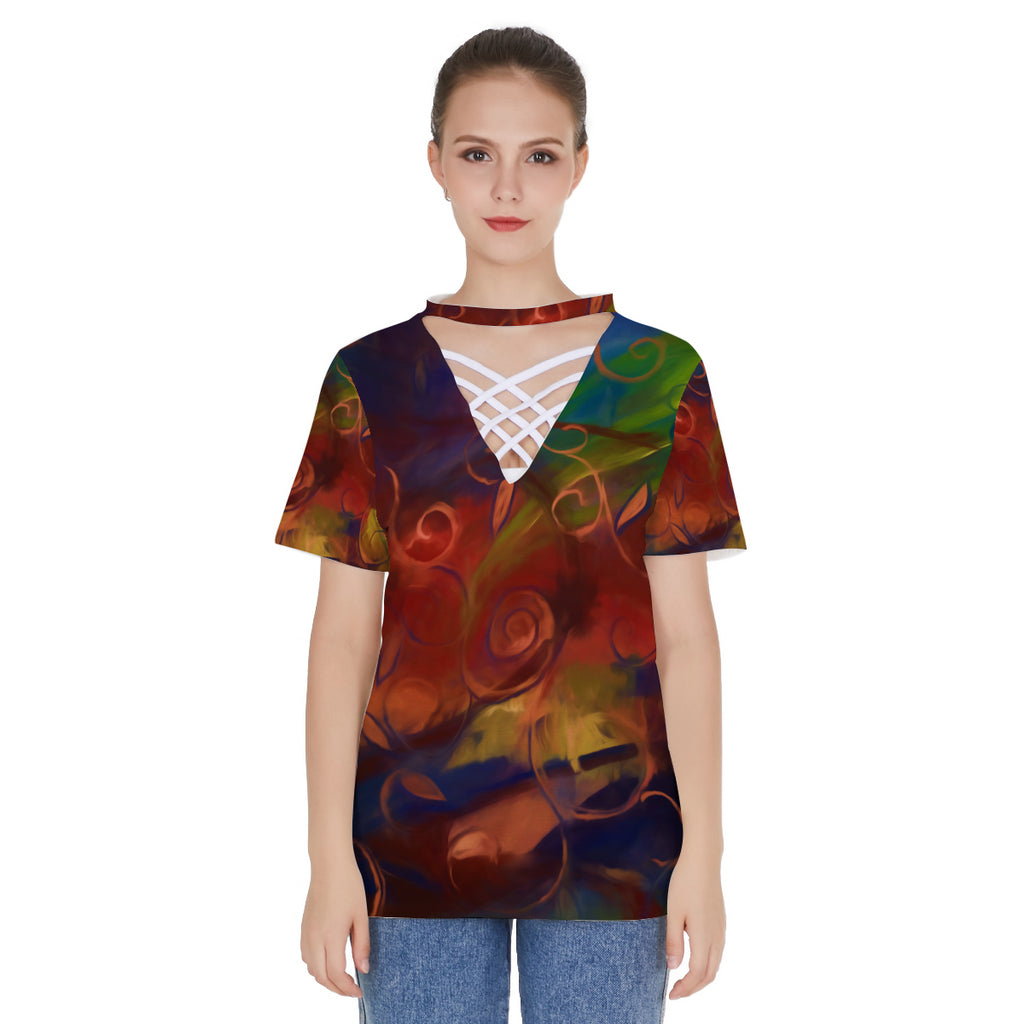 Fall Winds Are Coming All-over print V-neck string short sleeve shirt
