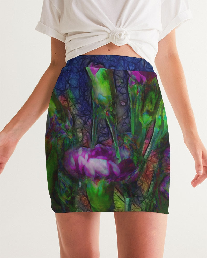 Abstract Pink Carnations Women's Mini Skirt