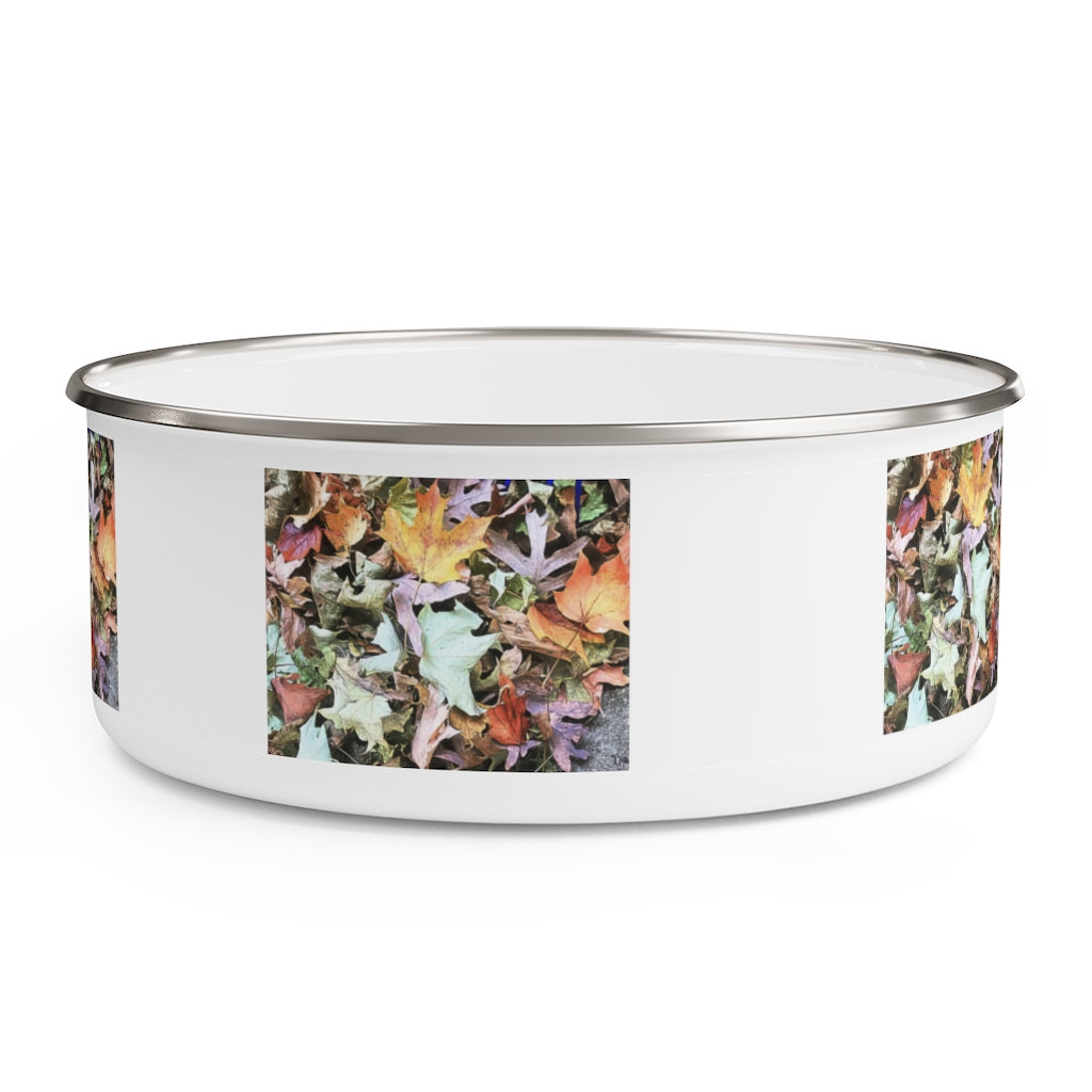 Fall Leaf Pile Enamel Bowl