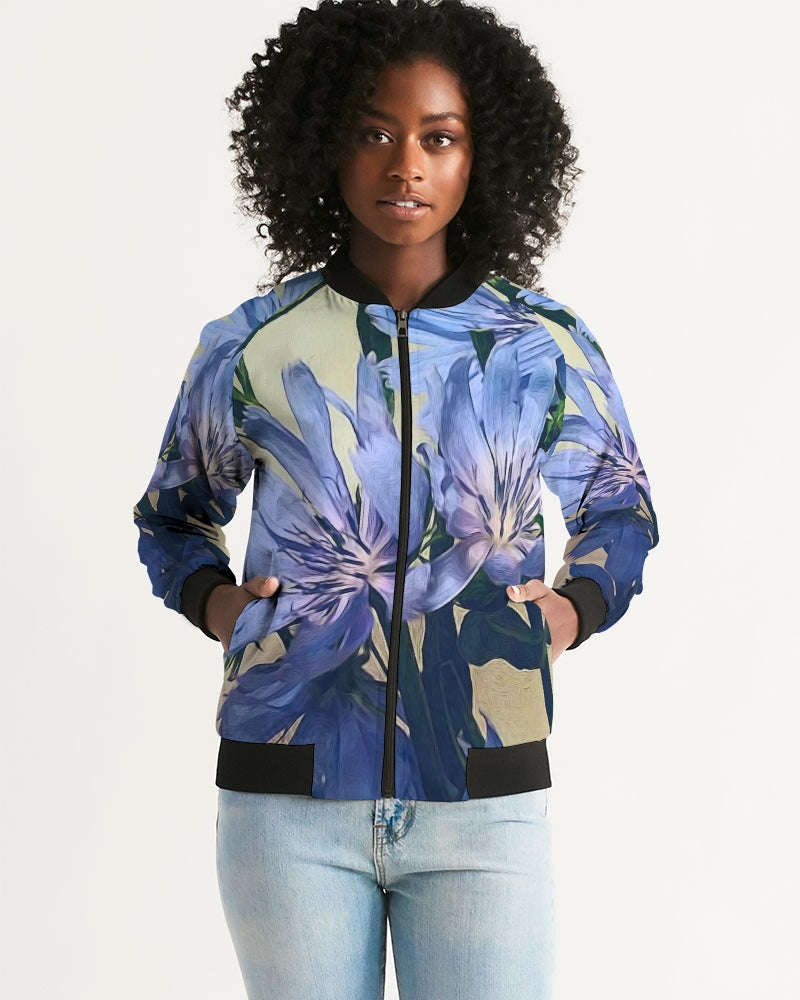 Blue Wildflowers Women's Bomber Jacket