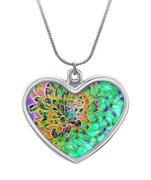 Abstract Chrysanthemum Heart Necklace Heart Necklace