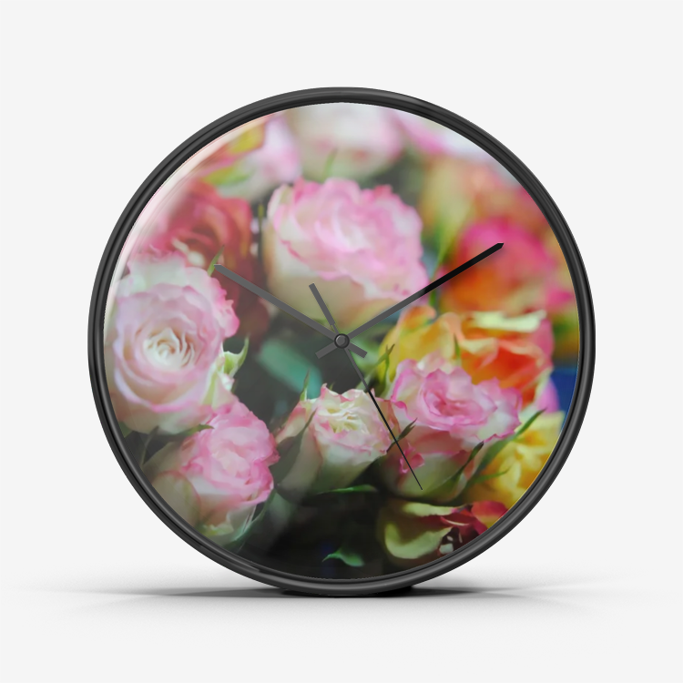 Mini Tea Roses Wall Clock Silent Non Ticking Quality Quartz