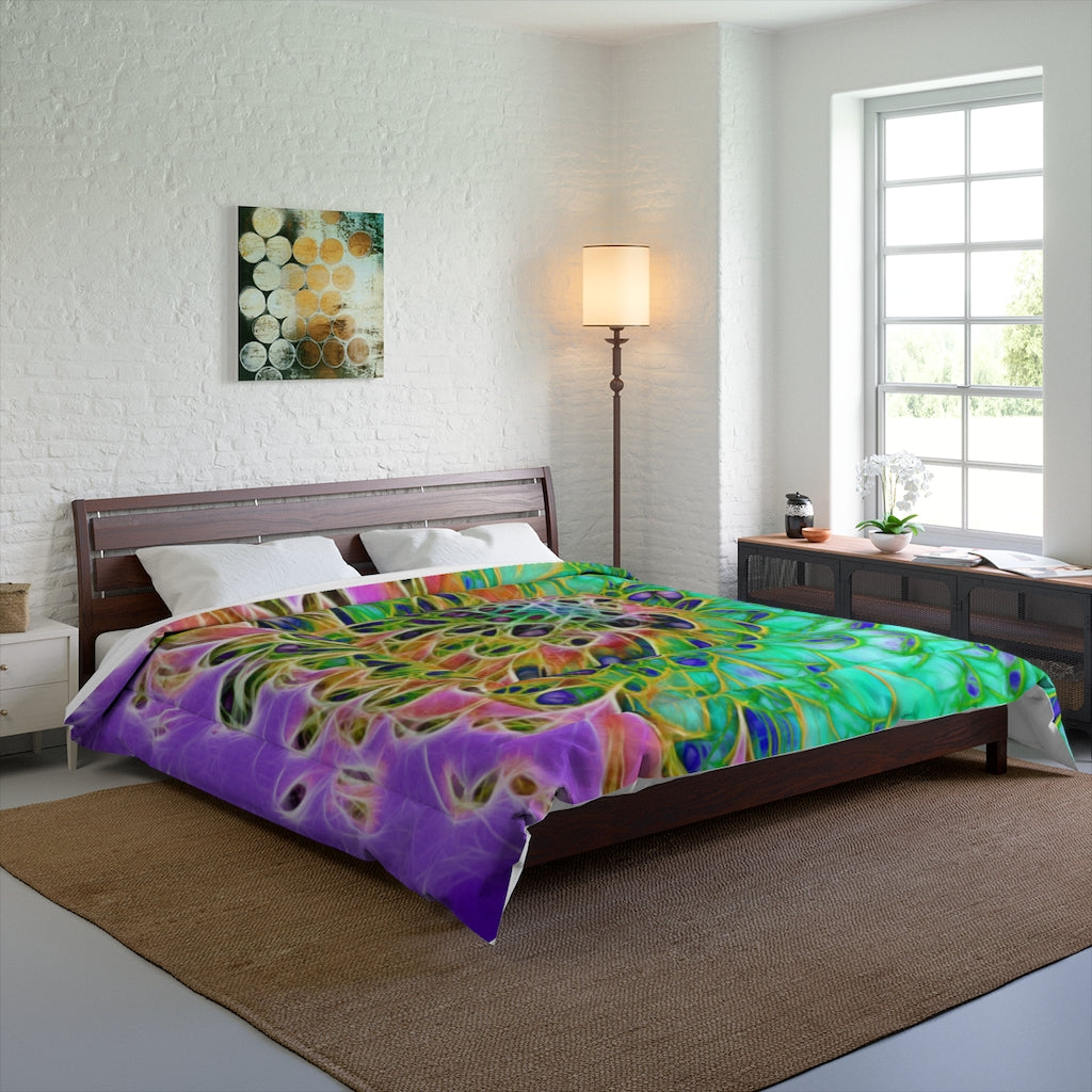 Abstract Peacock Chrysanthemum Comforter