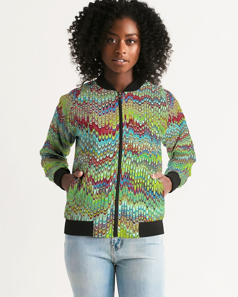 Cool Green Marbled Women's Bomber Jacket