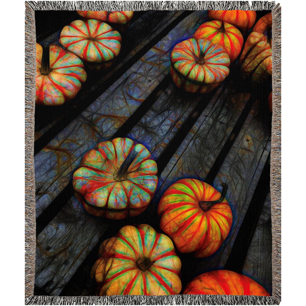 Colorful Fall Gourds Woven Blankets