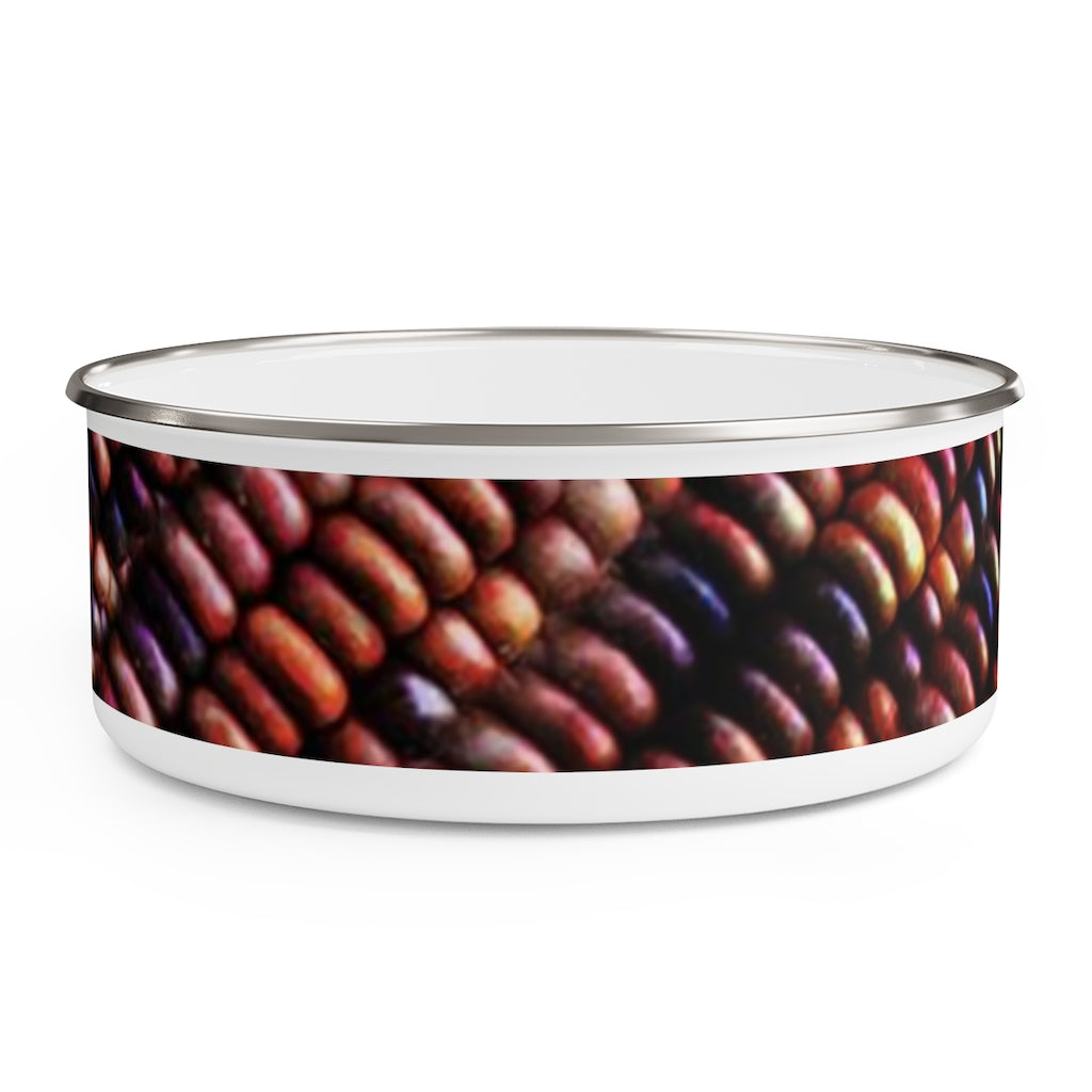 Colorful Fall Corn Enamel Bowl