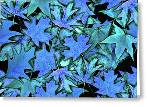 Blue Fall leaves - Greeting Card