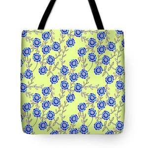 Blue Flowers On Yellow - Tote Bag