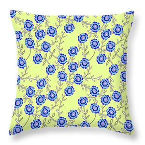 Blue Flowers On Yellow - Throw Pillow