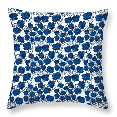Blue Roses - Throw Pillow