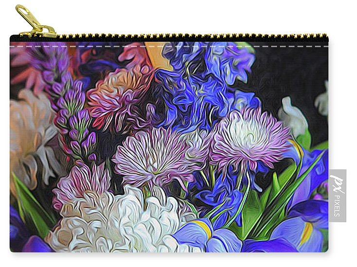 Blue White Purple Mixed Flowers Bouquet - Carry-All Pouch