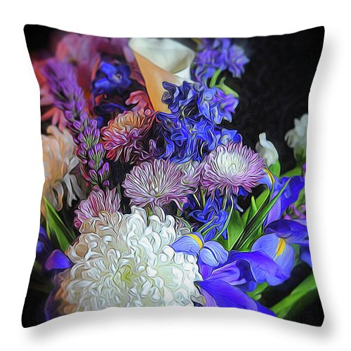 Blue White Purple Mixed Flowers Bouquet - Throw Pillow