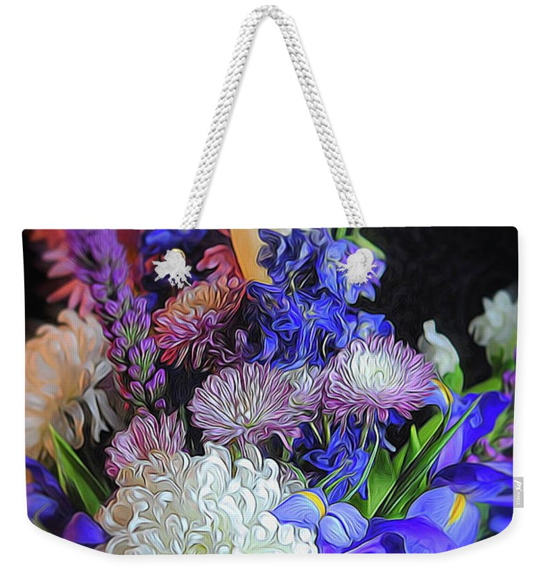 Blue White Purple Mixed Flowers Bouquet - Weekender Tote Bag