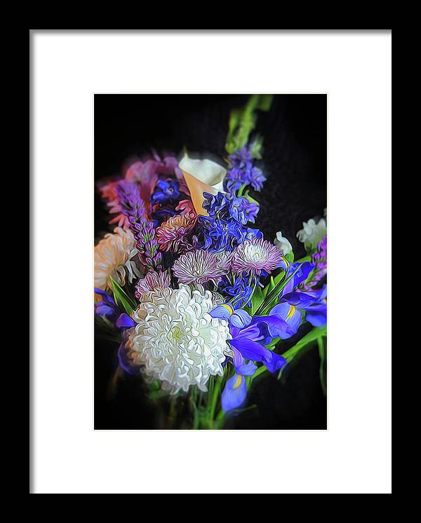 Blue White Purple Mixed Flowers Bouquet - Framed Print