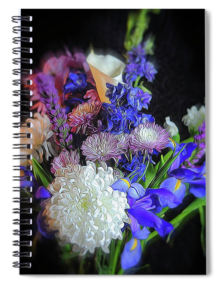 Blue White Purple Mixed Flowers Bouquet - Spiral Notebook