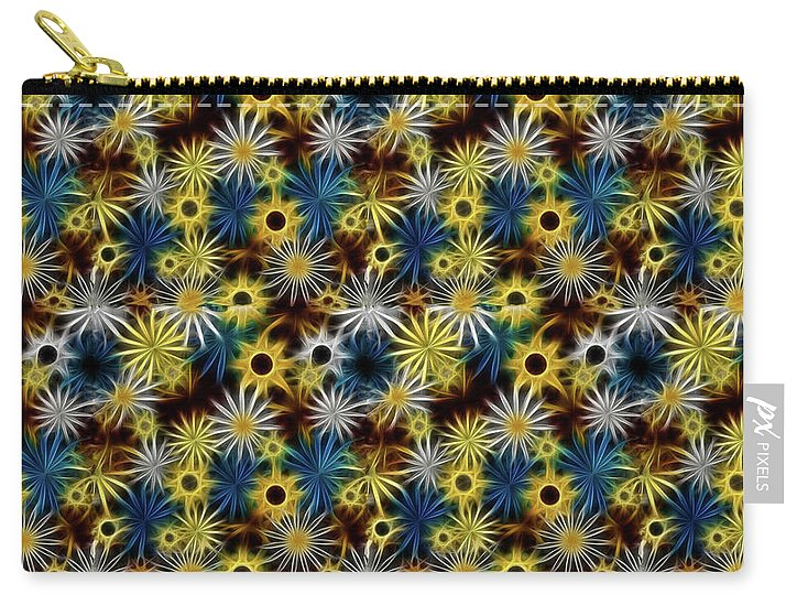 Blue Yellow White Daisies on Brown - Carry-All Pouch