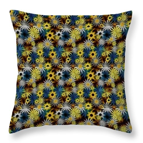 Blue Yellow White Daisies on Brown - Throw Pillow