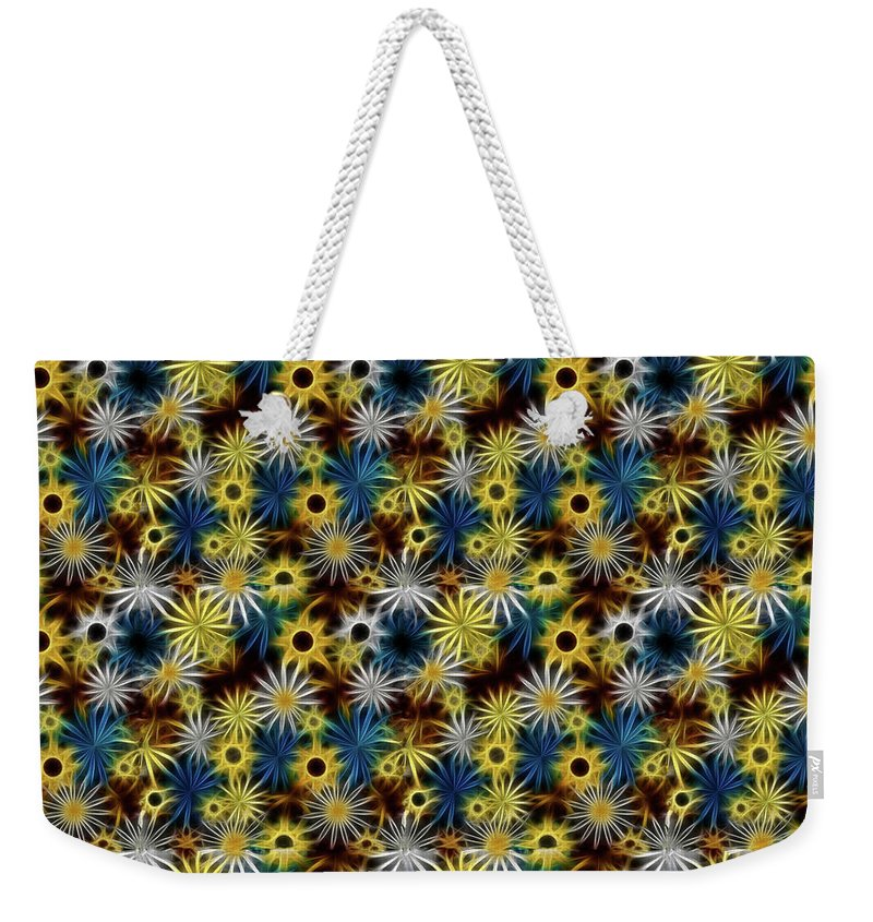 Blue Yellow White Daisies on Brown - Weekender Tote Bag