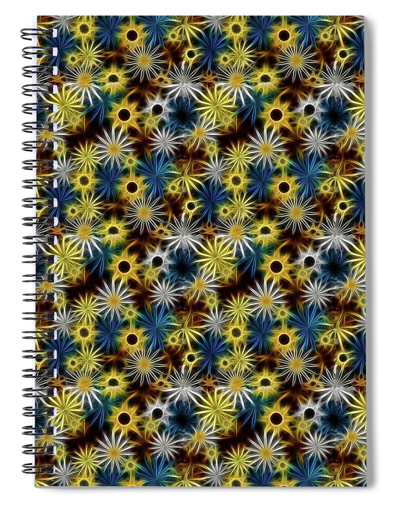 Blue Yellow White Daisies on Brown - Spiral Notebook