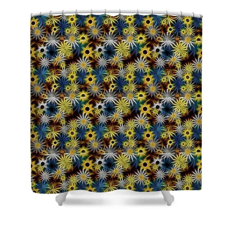 Blue Yellow White Daisies on Brown - Shower Curtain