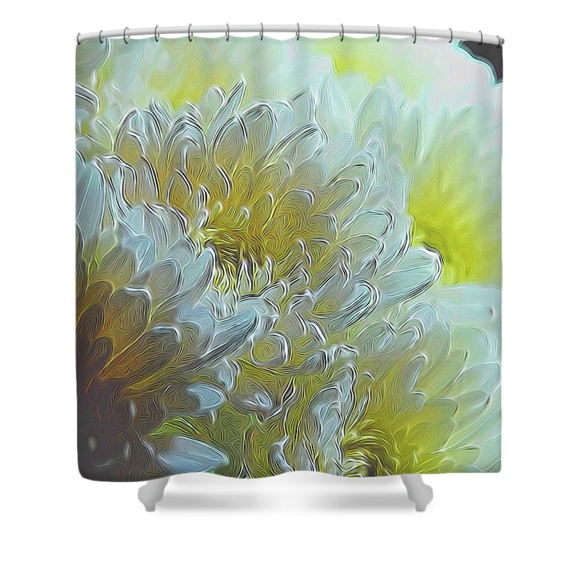 Chrysanthemums in White Light - Shower Curtain