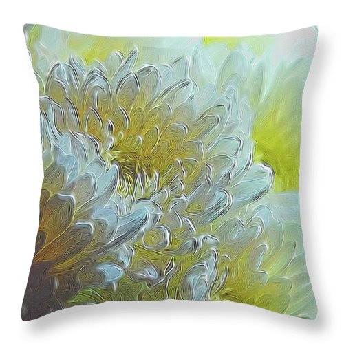 Chrysanthemums in White Light - Throw Pillow