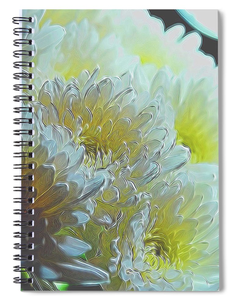 Chrysanthemums in White Light - Spiral Notebook