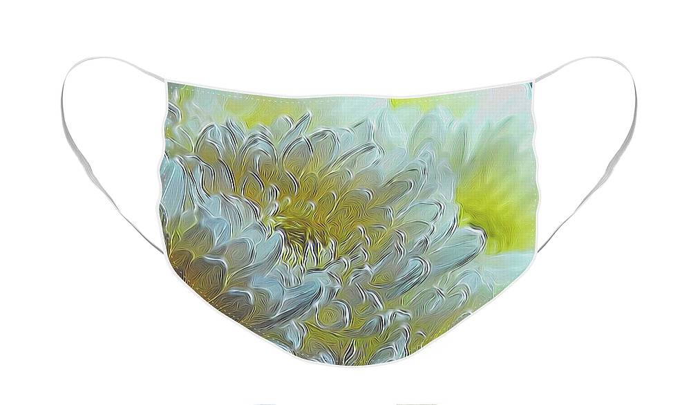 Chrysanthemums in White Light - Face Mask
