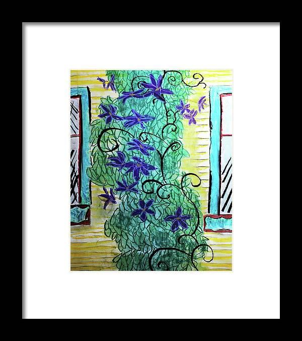 Climbing Purple Vines - Framed Print