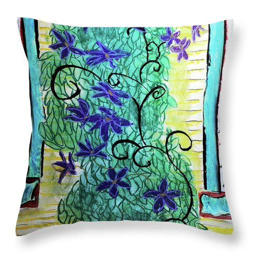 Climbing Purple Vines - Throw Pillow
