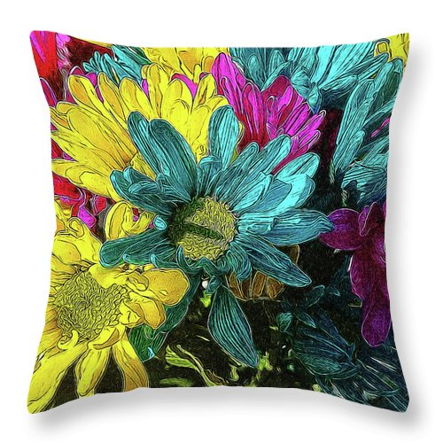 Colorful Daisies - Throw Pillow