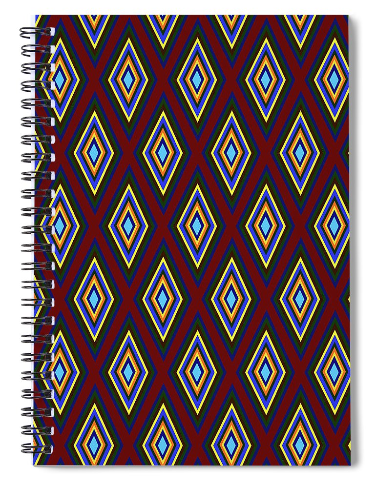 Colorful Diamonds Pattern Variation 1 - Spiral Notebook