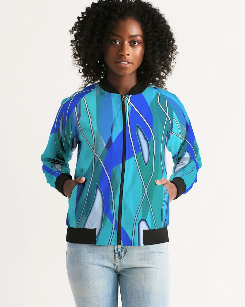 Wavy Blue Women's Bomber Jacket