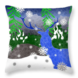 Deer In The Snow - Throw Pillow